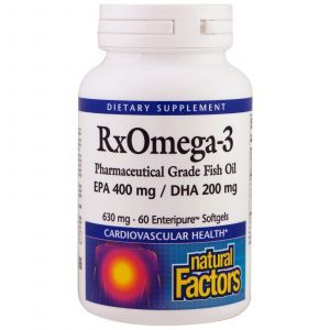 Омега-3, RxOmega-3, Natural Factors, 60 кап.