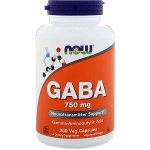 Гамма-аминомасляная кислота ГАМК, GABA, Now Foods, 750 мг, 200 капсул