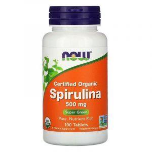 Спирулина, Spirulina, Now Foods, органик, 500 мг, 100 таблеток