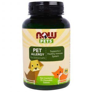 Комплекс при аллергии для животных, ( Pets, Pet Allergy), Now Foods, 75 жевательных таблеток