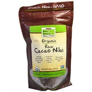 Какао порошок, (Organic, Raw Cacao Nibs), Now Foods, 227 г