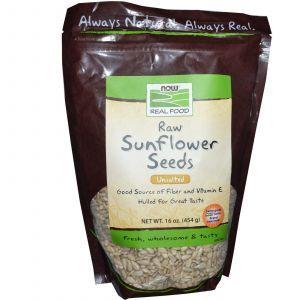 Семена подсолнечника, (Raw Sunflower Seeds), Now Foods, 454 г