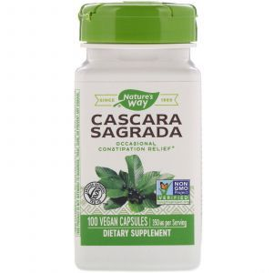 Каскара саграда, Cascara Sagrada, Nature's Way, 350 мг, 100 капсул