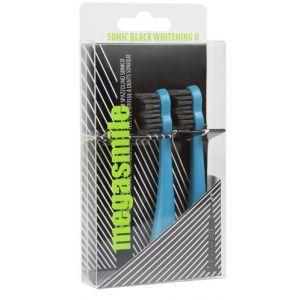 Насадка для звуковой гидроактивной зубной щетки, Sonic Black Whitening ІІ, Megasmile, голубая, 2 шт. в упаковке