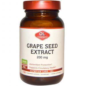 Экстракт виноградных косточек, Olympian Labs Inc., 200 мг, 100 капсул