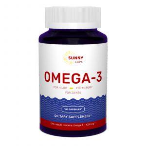 Омега-3, риб'ячий жир, Omega-3 Activ Powerfull, Sunny Caps, 1000 мг, 100 гелевих капсул