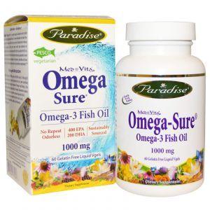 Омега-3 рыбий жир, Omega-3 Fish oil, Paradise Herbs, 1000 мг, 60 кап.