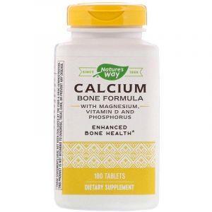 Кальций магний фосфор витамин Д, Calcium Magnesium Phosphorus Vitamin D, Enzymatic Therapy (Nature's Way), 180 таблеток