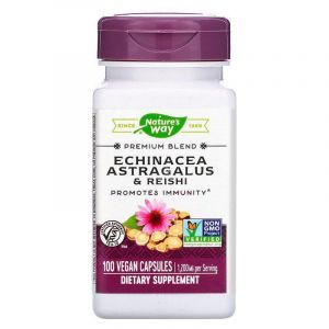 Эхинацея, астрагал и рейши, Echinacea Astragalus & Reishi, Nature's Way, 1200 мг, 100 кап.