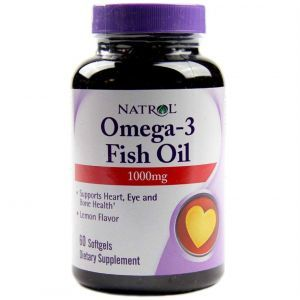 Омега-3, рыбий жир, Omega-3 Fish Oil, Natrol, лимонный вкус, 1000 мг, 60 гелевых капсул