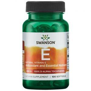 Витамин Е, Vitamin E Natural, Swanson, 400 МЕ (268 мг), 100 гелевых капсул
