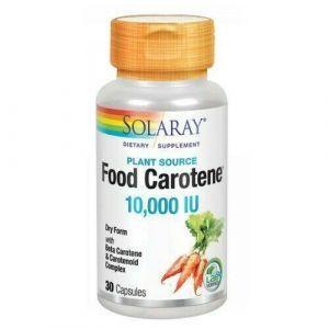 Бета-каротин, Food Carotene, Solaray, пищевой, 10,000 МЕ, 30 капсул