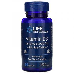Витамин Д3, Vitamin D3, Life Extension, с йодом, 5000 МЕ (125 мкг), 60 капсул