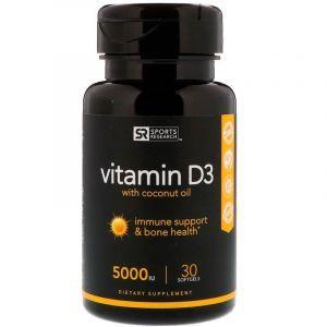 Витамин Д3 с кокосовым маслом, Vitamin D3, Sports Research, 125 мкг (5000 МЕ), 30 гелевых капсул