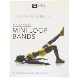 Набор фитнес-резинок, Mini Loop Bands, Sports Research, 5 кольцевых резинок