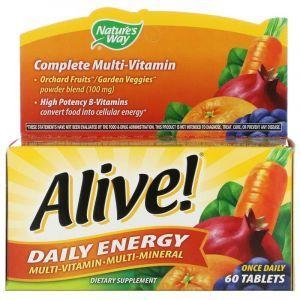 Мультивитамины Alive!, Daily Energy, Nature's Way, 60 таблеток