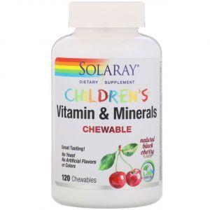 Мультивитамины для детей, Children's Vitamins and Minerals, Solaray, вкус вишни, 120 таблеток