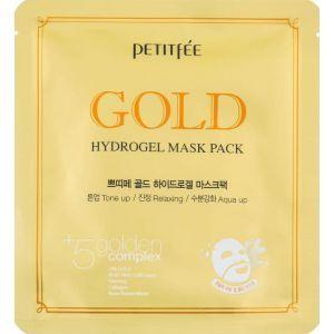 Гидрогелевая маска с золотым комплексом, Gold Hydrogel Mask Pack +5 Golden Complex, PETITFEE, 32 г