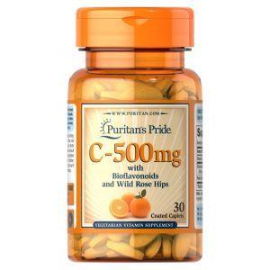 Витамин С с биофлавоноидами и шиповником, Vitamin C, Puritan's Pride, 500 мг, 30 капсул