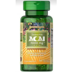 Асаи, Acai, Puritan's Pride, 1000 мг, 60 гелевых капсул
