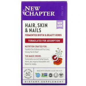 Витамины для ногтей, волос и кожи, Perfect Hair, Skin & Nails, New Chapter, 60 капсул
