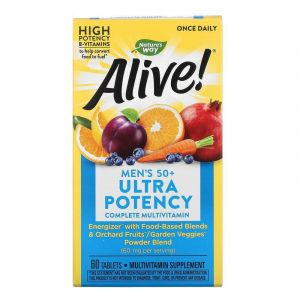 Витамины для мужчин после 50 Alive! Men's Multi-Vitamin, Nature's Way, 60 таблето