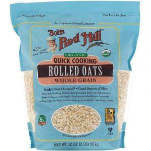 Вівсяні пластівці швидкого приготування, Quick Cooking Rolled Oats, Bob's Red Mill, цільнозернові, органічні, 907 г