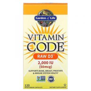 Сырые Витамины Д3, 2000 МЕ, Vitamin Code, Garden of Life, 120 кап.