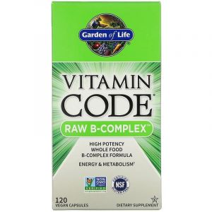 Сырые Витамины, Raw B-комплекс, Garden of Life, Vitamin Code, 120 капсул
