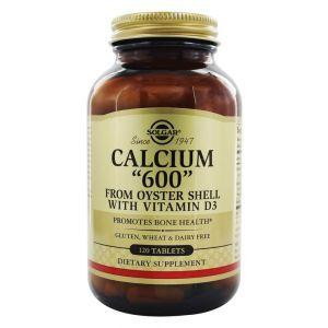 """Кальцій з раковин устриць, Calcium """"600"""", Solgar, з вітаміном D3, 120 таблеток"""