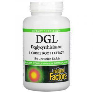 Корень солодки, DGL, Licorice Root, Natural Factors, экстракт, 180 жевательных таблеток