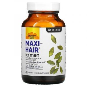 Витамины для кожи и волос мужчин, Maxi Hair, Country Life, 60 капсул