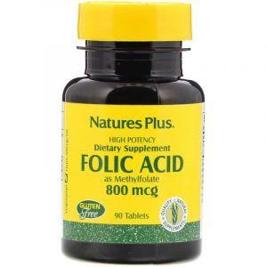 Фолієва кислота, Folic Acid, Nature's Plus, 800 мкг, 90 таблеток