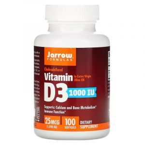 Витамин Д3, Vitamin D3, Jarrow Formulas, 1000 МЕ, 100 кап.