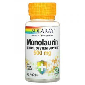Монолаурин, Monolaurin, Solaray, 500 мг, 60 капсул (Default)