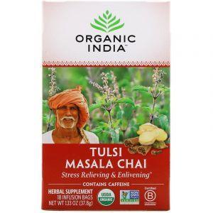 Чай масала с базиликом, Tulsi Holy Basil Tea, Organic India, 18 чайных пакетиков, 37.8 г
