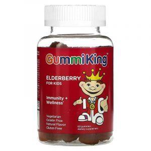 Черная бузина для детей, Elderberry, GummiKing, иммунитет и здоровье, вкус малины, 60 жевательных конфет