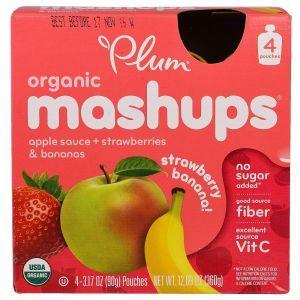 Детское пюре (яблоко,банан и клубника), Plum, Plum Organics, 4 шт (90 г каждая)