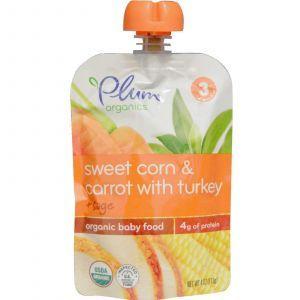 Детское пюре из кукурузы, моркови, шалфея, Organic Baby Food, Plum Organics, 113 г