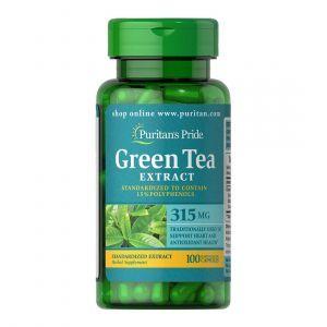 Зеленый чай, Green Tea, Puritan's Pride, стандартизированный экстракт, 315 мг, 100 капсул