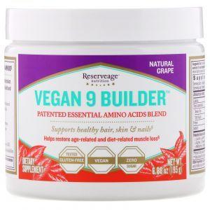 Аминокислотный комплекс, Vegan 9 Builder, Natural Grape, ReserveAge Nutrition, 95 г