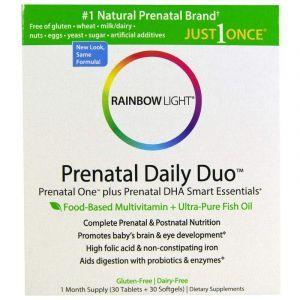 Витамины + Рыбий жир для беременных, Prenatal One plus Prenatal DHA Smart Essentials, Rainbow Light, 30 капсул + 30 таблеток (Default)