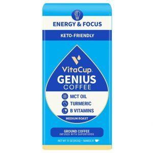 Кофе с MCT, куркумой, корицей и витаминами B & D3,Genius Ground Coffee, VitaCup, 312 г
