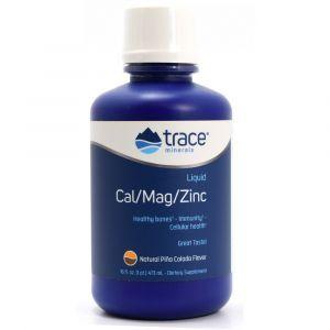 Жидкий кальций, магний, цинк, Cal/Mag/Zinc, Trace Minerals Research, 1200 мг/600 мг/15 мг. 473 мл