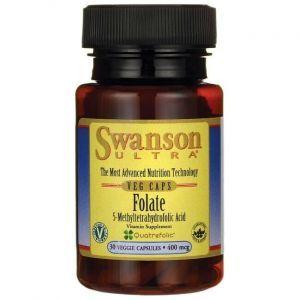 Фолат, Ultra Folate, Swanson, 400 мкг, 30 вегетарианских капсул