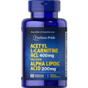 Ацетил-L-карнитин с альфа-липоевой кислотой, Acetyl L-Carnitine with Alpha Lipoic Acid, Puritan's Pride, 400 мг / 200 мг, 60 капсул