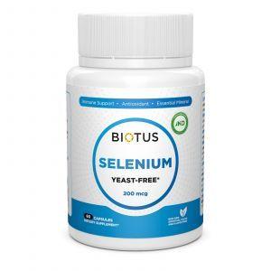 Селен, Selenium, Biotus, без дріжджів, 200 мкг, 60 капсул