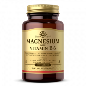 Магний с витамином В-6, Magnesium with Vitamin B6, Solgar, 133/8 мг, 100 таблеток