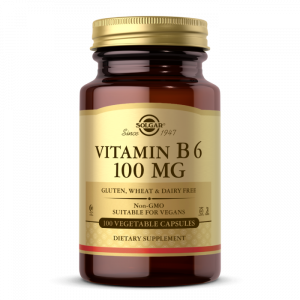 Витамин В6, Vitamin B6, Solgar, 100 мг, 100 вегетарианских капсул