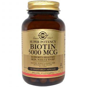 Биотин, (Biotin), Solgar, 5000 мг, 50 капсул